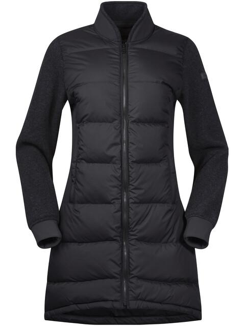 Bergans Oslo Down Hybrid Long Jacket Women SolidCharcoal/SolidCharcoal Mel
